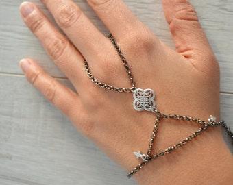 Black Silver Cross Bracelet Ring, Boho Slave Bracelet Ring, Boho Hand Chain, Bohemian hand ring cross jewelry, turkish style ring jewelry