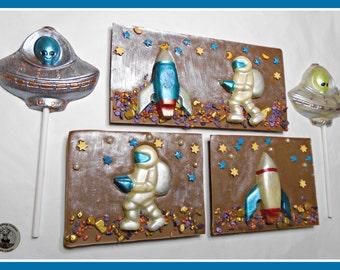 Chocolate Space Adventure/Astronaut/Alien/Boys Chocolate/Boys birthday gift/Male/Mens Gift/Outer Space/Space ship/Male Birthday/Space rocket