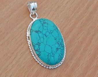 Oval Cab Tibetan Turquoise Pendant, Handmade Artisan Pendant,  Turquoise Gemstone 925 Silver Pendant Jewelry