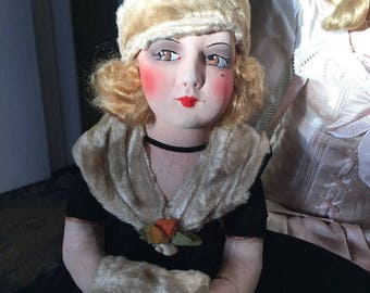 SOLD !!!!!!!!!  Rare Boudoir doll Night Case, lingerie case Flapper 1920 all original
