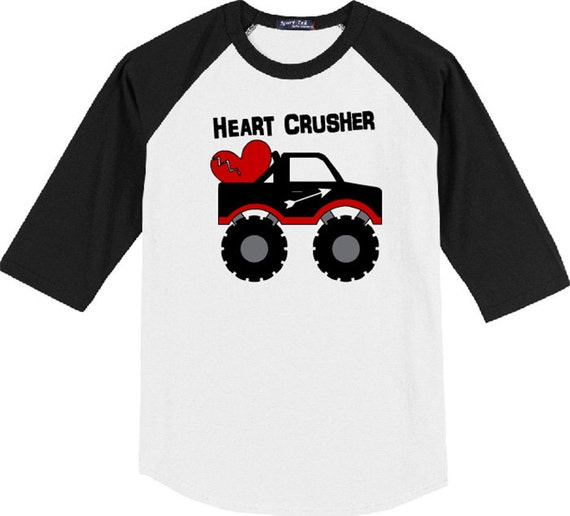 Heart Crusher, Valentines Shirt, February, Heart Truck, Boys Valentine