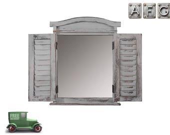 Wandspiegel Fenster mit Fensterläden Shabby Grau