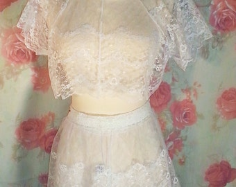 Early 1990's white lace Fredericks of Hollywood