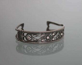 Sterling Silver Crystal Cuff Bracelet, Vintage Sterling Silver Cuff Bracelet