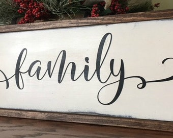 Family Sign -Framed Wood Sign - Hand painted - Gallery Wall - Farmhouse - Rustic - Home Decor - Wedding Gift - Housewarming - Shabby Chic
