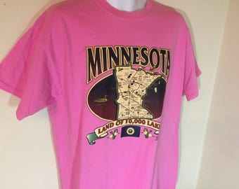 MINNESOTA LAND of 10,000 LAKES- State Map--T-Shirt Adult Xl      z