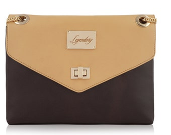 Brown&Beige dual combination multi-carry leather handbag FREE EXPRESS DELIVERY
