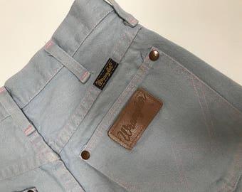 Vintage High Waisted Distressed Cutoff Stretch Denim Jean Shorts - Light Blue Wrangler Denim Shorts - Baby Pink Seams - Wrangler - Size 3