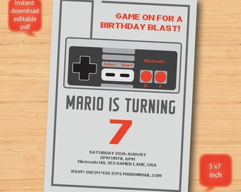 Nintendo game birthday invitation personalised - SELF EDITABLE PDF - 5 x 7 inch Customisable Printable Party Invite - Instant Download