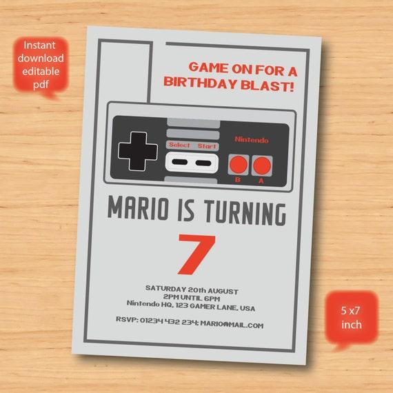 Nintendo Game Birthday Invitation Personalised SELF EDITABLE