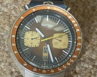 Rare Vintage Seiko Bullhead Chronograph Watch with Original Band 6138-0049
