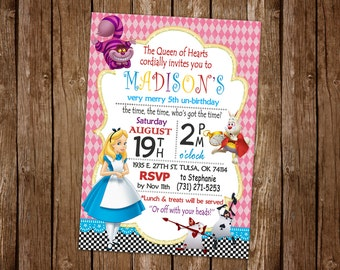 Alice in Wonderland Invitation Printable, Alice in Wonderland Birthday Party