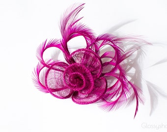 Purple Fascinator 2 in1 Hair Clip and Brooch
