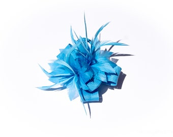 Light Blue Classic Feather Flower Fascinator Clip and Brooch