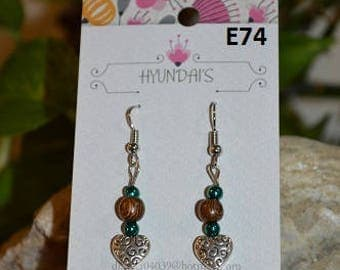 Jewelry by Hyundai's Heart dangle with blue and brown beads