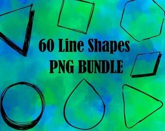 60 Line Shapes Bundle PNG – Instant Download – Commercial Use – Digital Clip Art Shapes - Digital Files