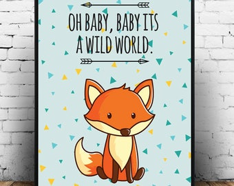 Nursery Decor, Nursery Art, Nursery Print, Fox, Fox Art, Nursery Wall Art, Kids Decor, Kids Art, Cute Art
