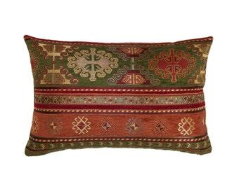 KILIM PILLOW Cover - Turkish Pillow -Tribal Pillow Cover -Ethnic Pillow -Geometric Pattern -Orange and Green Pillow -Kilim Throw Pillow