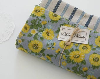 """Sunflower Stripe Patterned Linen Cotton Fabric made in Korea 45cm by 145cm or 18"""" by 57"""" by the Half Yard"""