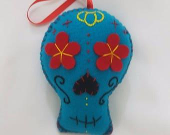 Blue Felt Sugar skull