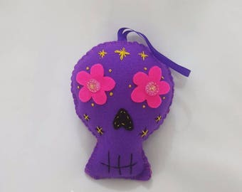 Purple felt sugar skull