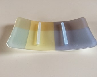 Yellow, lilac, blue and green fused glass soap dish