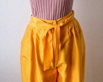 True vintage silk trousers pants yellow high waisted GR 42(38) boho style