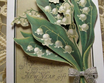 NEW YEARS LILIES - designer handcrafted 3D greeting card