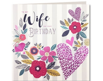 New Breton Collection - Wife on your Birthday - Happy Birthday Wife - Wife Birthday Card -  Stripes - Laura Darrington Design - BR38