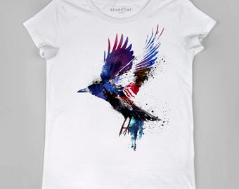 Crow T-shirt, Women T-shirt, Cotton 100%, watercolor print T-shirt, T shirt art, T shirt animal, XS, S, M, L, XL