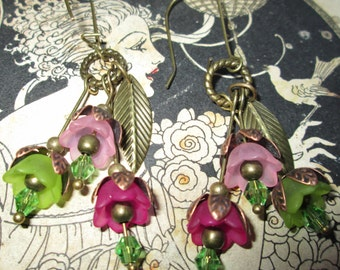 Earring flower, 3 bells, LAURAMCREATION