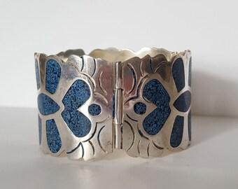 Vintage Southwest Panel Bracelet, Southwest Blue Inlay Bracelet, Alpaca Silver Hinged Panel Bracelet, 79 gr