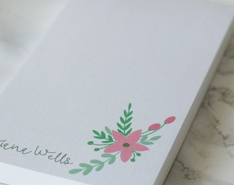 Spring Floral Personalized Notepad, To Do List, Custom Notepad,