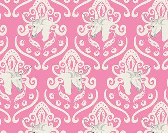 Unicorn Fabric, Equus Crest Sachet,  Art Gallery Fabrics, Fantasia Collection ,Woodland Nursery, Pink Fabric