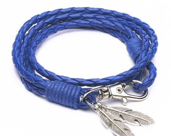 Blue Vikings Braided Bracelet Tribal Braded Rope with Feathers Pendant