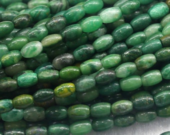 "Natural Genuine Africa Green Jade Rice Shape Loose Small Oval Beads 4x6mm 6x8mm 15"" 03836"
