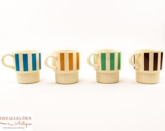 Retro Stackable Mugs   MCM Striped Set Of 4   Retro Kitchen Decor