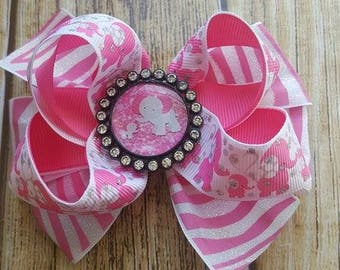 Girls Elephant hair Bow - Layered Ribbon Bow - Lined Clip Bow - Party Bow - Summer Bow - Girls Boutique Bow - pink and white Zebra RibbonBow