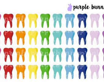 Rainbow Teeth Icons // Planner Stickers!