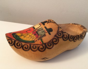 Vintage wooden dutch clog made in holland hand carved wooden shoe wood burned hand painted