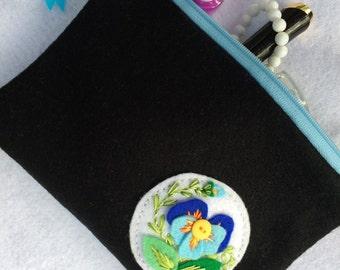 Orginal Beautiful Handmade Black Felt Cosmetic Bag witch Pansy Embroidery