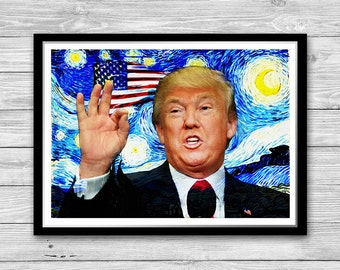 Donald Trump print poster, Make America great again, Donald Trump Starry Night Print, President of the USA, American Wall Art, President