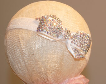Baby baptism/christening headband with crystal encrusted bow
