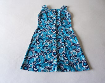 Blue Anette Cotton Dress 60's 70's Psychedelic