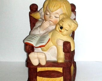 Vintage * Girl in Rocking Chair with Teddy Bear * Hand Painted Porcelain Figurine by Artistic Gifts, Inc.