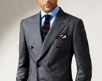 Double Breasted Grey Custom Fitted Suit