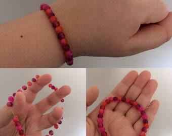 Pink, Red, Magenta Beaded Bracelet