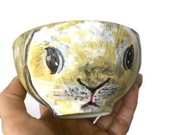 BUNNY : Hand-Painted  Decorative Porcelain Art Bowl, Trinket dish, Easter Egg Bowl