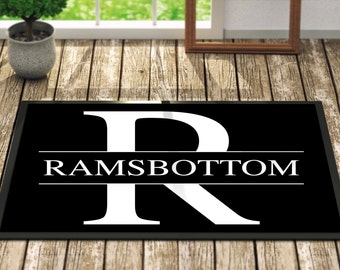 Personalized Door Mat Name and Letter - Fall Home Decor Monogrammed Gifts For Her Floral For the Home Outdoors Outdoor Decor Guest Mat
