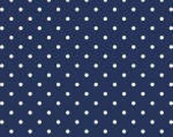 1 Yard small white Swiss Dot on Orange,  Swiss Dots by Riley Blake Designs Collection C670R-21 NAVY Navy polka Dot, dark blue cotton